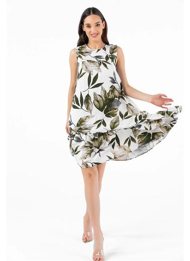 Tiffany&Tomato Palmiye Desenli Elbise Haki